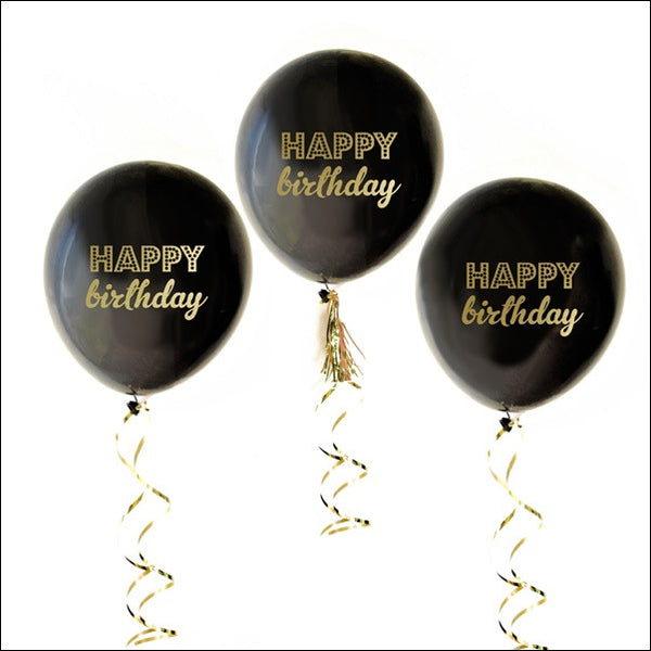 Black & Gold Happy Birthday Balloons Set Of 6 - Jaclyn Peters Designs