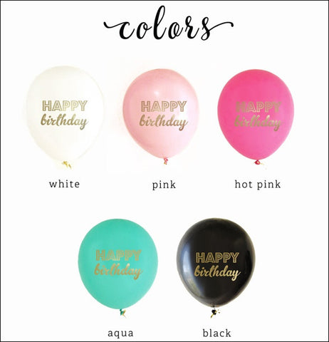Gold Happy Birthday Balloons Set Of 6 - Jaclyn Peters Designs - 1