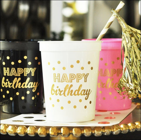 Gold Happy Birthday Cups Set of 25 - Jaclyn Peters Designs - 1