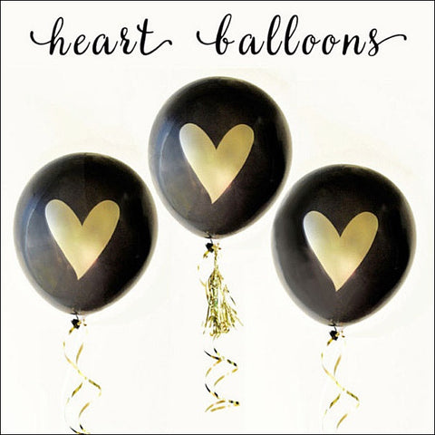 Black & Gold Heart Boutique Party Balloons Set of 6