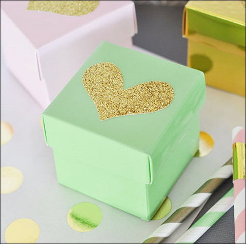Gold Glitter Heart Favor Box DIY Kit In Choice Of Color - Set Of 24