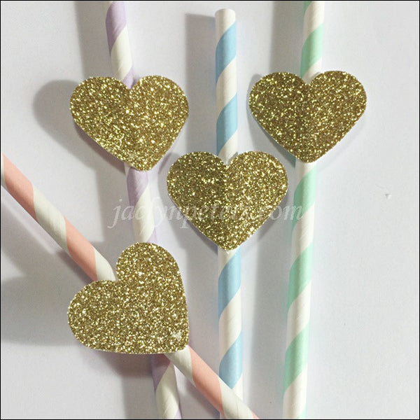 Rainbow Pastel Party Straws With Gold Glitter Hearts