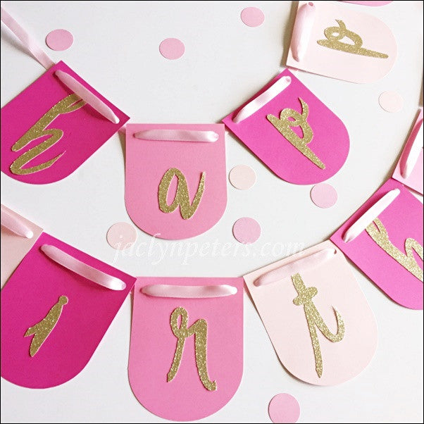 Custom Happy Birthday Gold Glitter Letter Banner Choice Of Colors