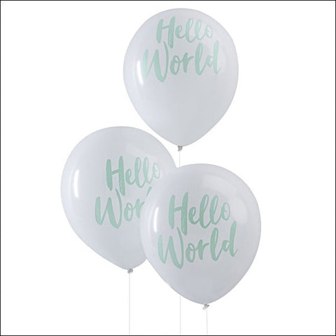 Hello World Mint Green Baby Shower Balloons Set Of 6
