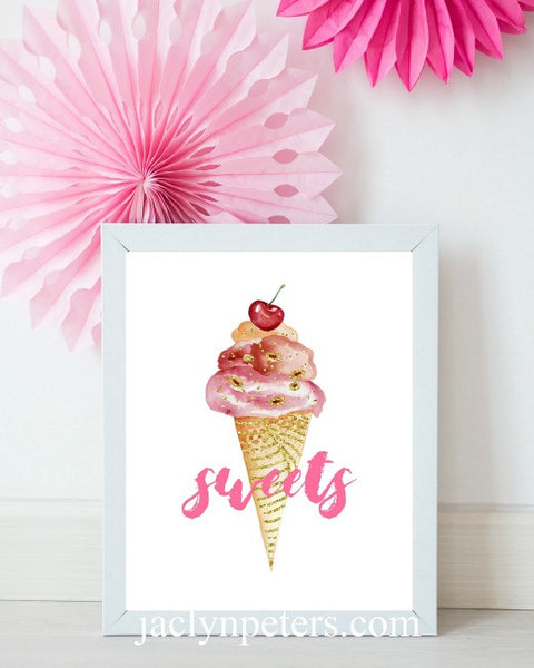 Sweet Shop Ice Cream Cone Dessert Table Sign- Printable Instant Download