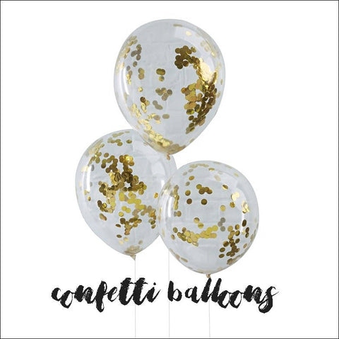 Gold Mylar Confetti Clear Balloons 12 Inch Set Of 3