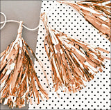 Mini Rose Gold Metallic Party Tassels Set of 18