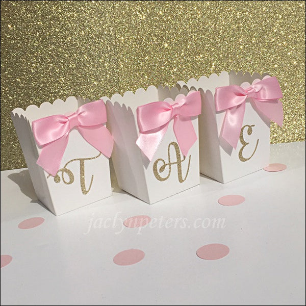 Personalized Gold Glitter Initial Popcorn Favor Boxes Set Of 12