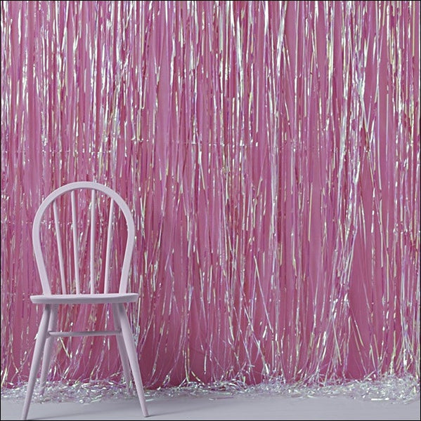 Unicorn Party Iridescent Fringe Curtain Backdrop