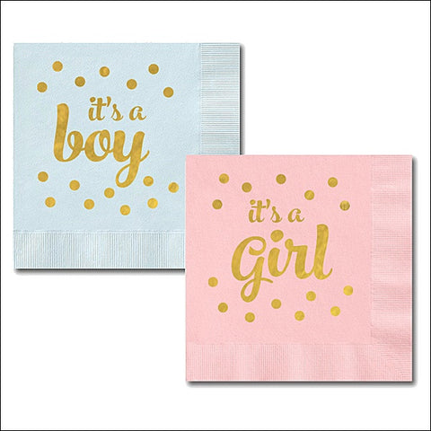 It's A Boy - It's A Girl Shower Napkins Set of 50 - Jaclyn Peters Designs - 1