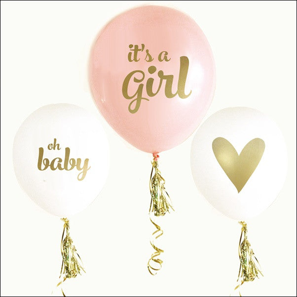 Itu0027s A Girl Baby Shower Balloons Set Of 6   Jaclyn Peters Designs