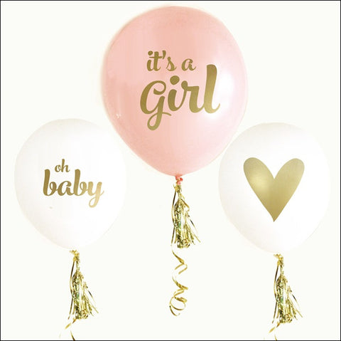 It's A Girl Baby Shower Balloons Set Of 6 - Jaclyn Peters Designs