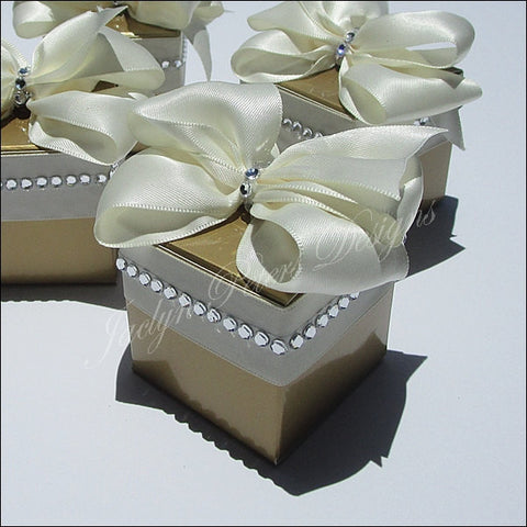 Elegant Gold And Ivory Rhinestone Wedding Favor Boxes - Jaclyn Peters Designs - 1