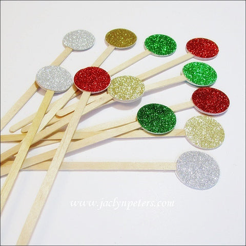 Christmas Party Glitter Swizzle Sticks - Jaclyn Peters Designs - 1