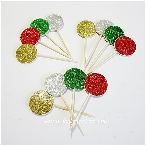 Christmas Party Glitter Cupcake Toppers - Jaclyn Peters Designs - 1