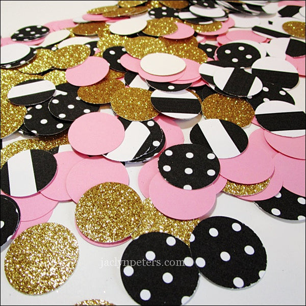 Pink, Gold, Stripes & Dots Confetti - Jaclyn Peters Designs - 1