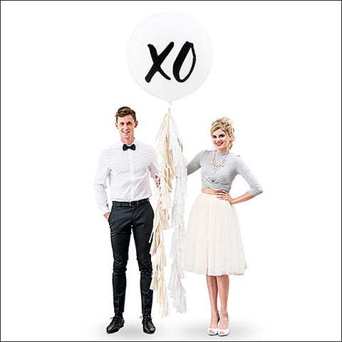 XO Hugs & Kisses Jumbo 36 Inch Balloon With Tassel Garland