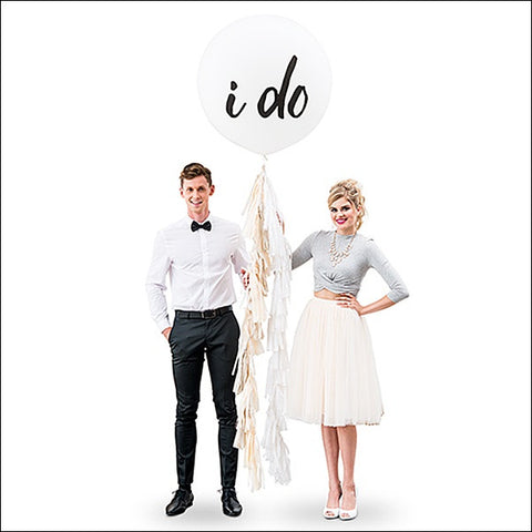I Do Jumbo 36 Inch Wedding Balloon With Tassel Garland