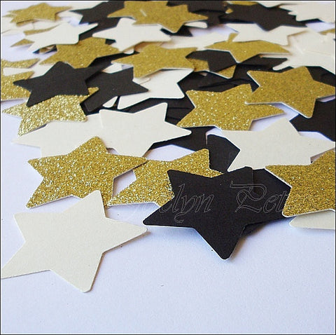 Black, Gold & Ivory Large Stars Confetti - Jaclyn Peters Designs - 1