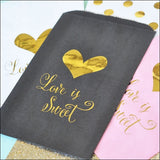 Love Is Sweet Gold Candy Bags Set of 24 - Jaclyn Peters Designs - 3