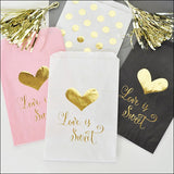 Love Is Sweet Gold Candy Bags Set of 24 - Jaclyn Peters Designs - 1
