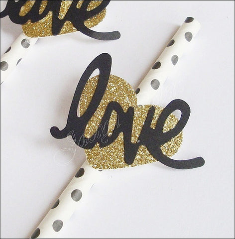 Black Dot Party Straws With Gold Glitter Hearts - Jaclyn Peters Designs - 1