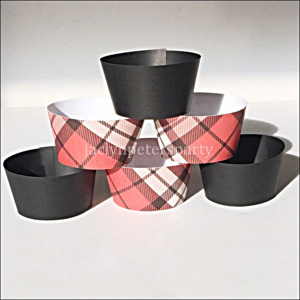 Lumberjack Party Red Plaid And Black Cupcake Wrappers Set Of 12