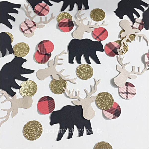 Lumberjack Party Confetti With Bears And Deers