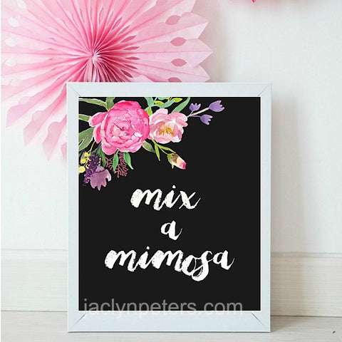 Mix A Mimosa Boho Watercolor Floral Printable Party Sign - Instant Download