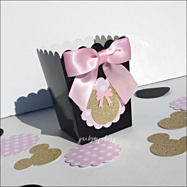 Minnie Mouse Pink And Black Popcorn Favor Boxes Set Of 10