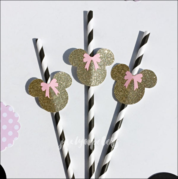 Minnie Mouse Black, Pink And Gold Glitter Party Straws Set Of 12
