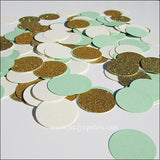 Mint Green, Ivory & Gold Confetti - Jaclyn Peters Designs - 1