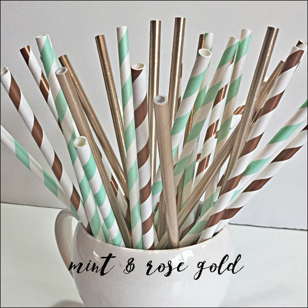 Rose Gold And Mint Green Decorative Party Straw Mix Set Of 50