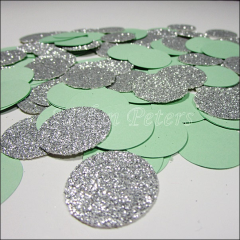 Mint & Silver Glitter Party Confetti - Jaclyn Peters Designs - 1