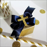 Boys Navy Blue And Gold Baptism Favor Boxes