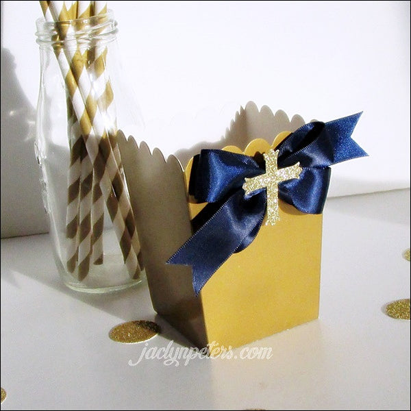 Boys Navy Blue And Gold Communion Popcorn Favor Boxes