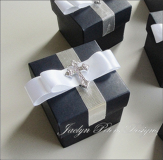 Navy Blue Baptism Or Communion Favor Boxes - Jaclyn Peters Designs - 1
