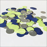 Navy, Lime And Silver Glitter Party Confetti