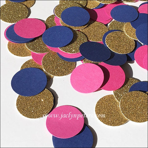 Navy, Hot Pink & Gold Confetti