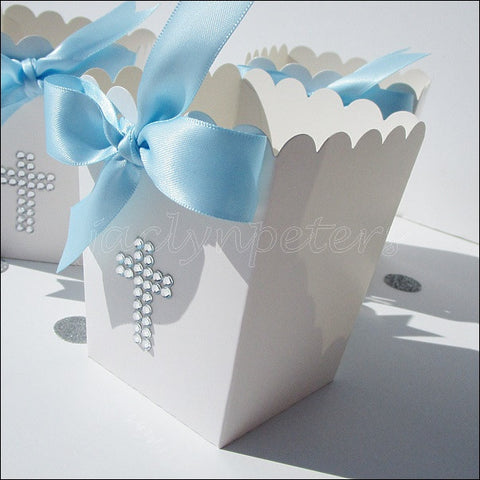 Baby Boy Baptism Popcorn Favor Boxes - Jaclyn Peters Designs - 1