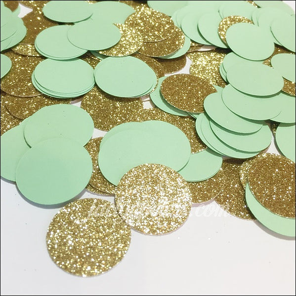 Mint Green & Gold Glitter Confetti