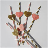 Pink & Gold Heart Striped Straws - Jaclyn Peters Designs - 3