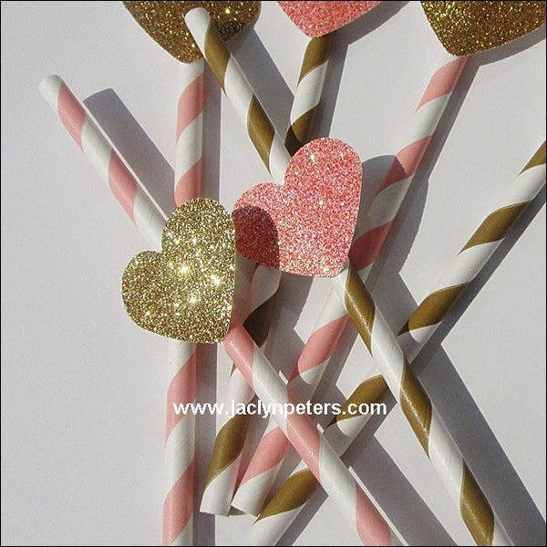 Pink & Gold Heart Striped Straws - Jaclyn Peters Designs - 1