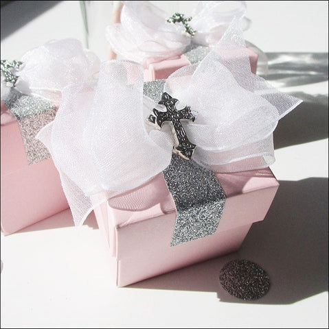 Girl's Pink Baptism Favor Box With Cross And Bow - Jaclyn Peters Designs - 1