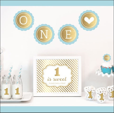 Boys First Birthday Party Decor Kit - Jaclyn Peters Designs - 1