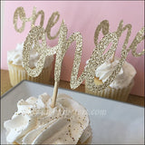 First Birthday Gold Glitter One Cupcake Toppers Set Of 12