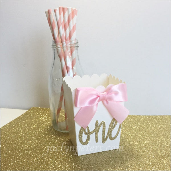 Gold Glitter First Birthday Party Popcorn Favor Boxes Set Of 10