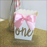 Gold Glitter First Birthday Party Popcorn Favor Boxes Set Of 12