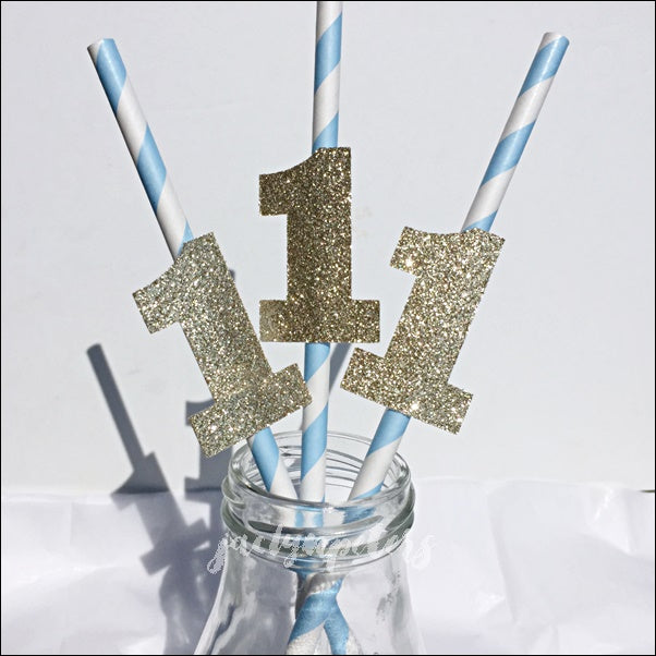 Baby Blue And Gold Glitter First Birthday Party Straws Jaclyn Peters