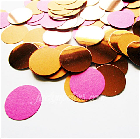 Hot Pink, Orange And Rose Gold Foil Party Confetti